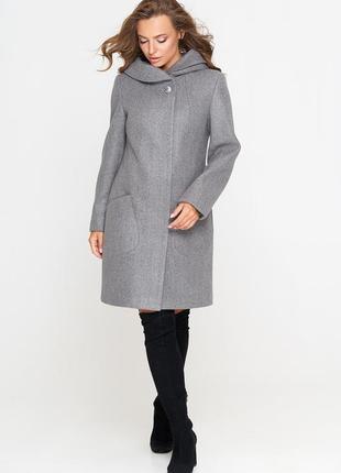 Пальто шерстяное belanti 186 модель, серый цвет