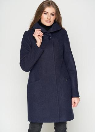 Пальто шерстяное belanti 186, темно-синий цвет