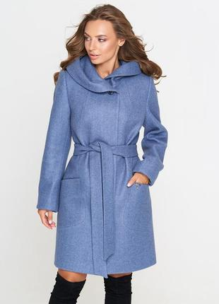 Пальто шерстяное belanti 186, джинс цвет