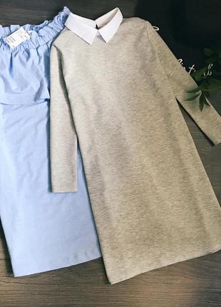Серое платье с воротничком s