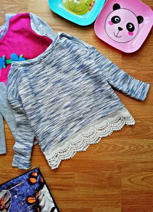 Детский современный брендовый свитер оверсайз для девочки next...