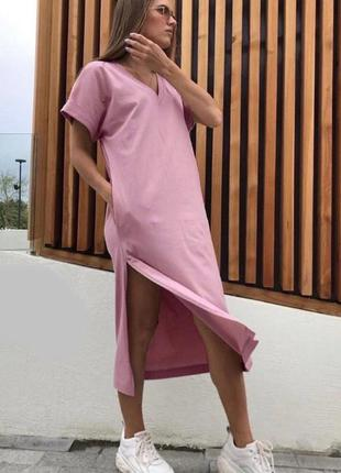 Casual платье футболка с одним разрезом
