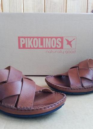 Шикарные полностью кожаные шлепанцы испанские сандалии pikolin...