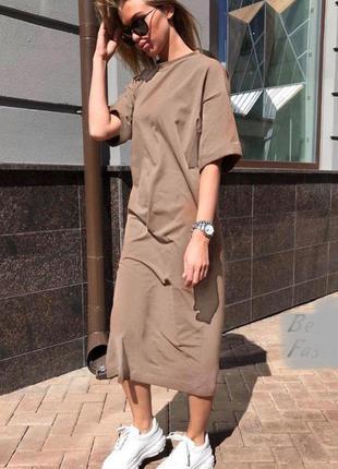 Стильное платье футболка с карманами