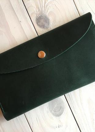 Женское кожаное портмоне goose™ зеленый (тревел-кейс, кошелек)