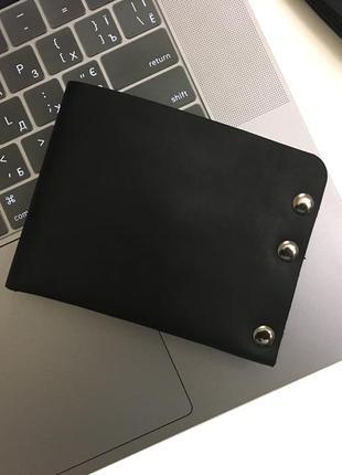 Кошелек мужской кожаный goose™ g0043 черный (ручной работы)