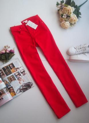 Джинсы штаны брюки красные slim fit 34,38 евро от h&m