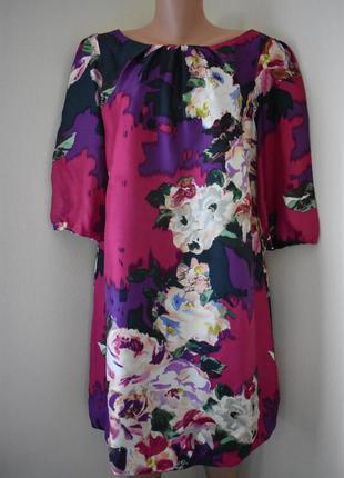 Шелковое платье с принтом большого размера