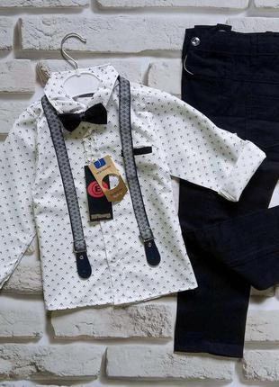 Нарядные костюмы с бабочкой и подтяжками для мальчиков 104-128...