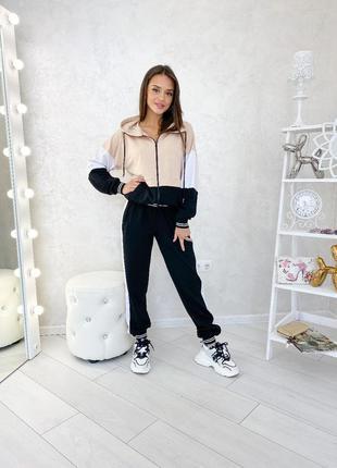 Женский костюм мокко-черный skl11-250663