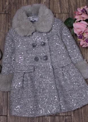 Шикарное стильное пальто с паетками