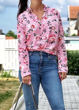 Рубашка блуза сорочка с розами хлопок от h&m