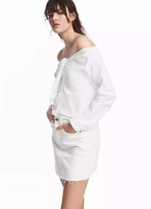 Трендовая рубашка блуза сорочка с открытыми плечами 44 евро от...