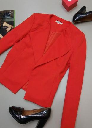 Фактурный красний пиджак блейзер жакет піджак червоний