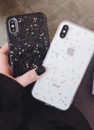 Прозрачный силиконовый чехол для всех Apple iPhone с блестками