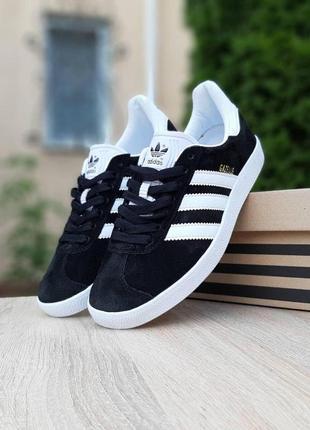 Adidas gazelle black/white🔺мужские кроссовки адидас белые/черн...
