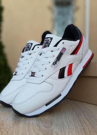 Reebok classic white/black/red мужские кроссовки рибок белые с...