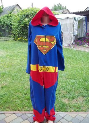 (50 / 52 р) superman флисовый комбинезон пижама кигуруми мужск...