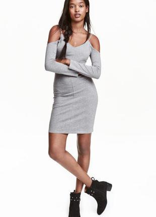 Платье плаття сукня с открытыми плечами хлопок от h&m