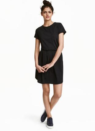 Черное платье свободного силуэта с карманами размер xs 32-34 е...