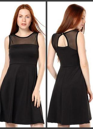 Черное платье прозрачные вставки размер 40 евро