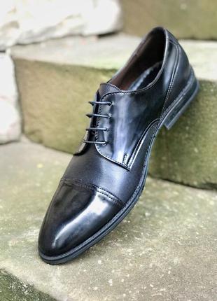 Мужские туфли ikos чёрные кожаные