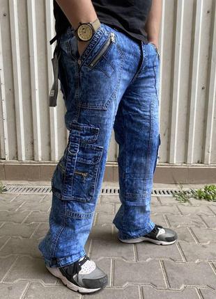 """Джинсы мужские коттоновые с накладными карманами """"карго"""" vigoo..."""