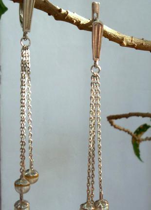 Серьги-висюльки серебро с жемчугом/ серебряные серьги длинные