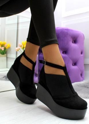 Новые женские  чёрные  туфли на платформе