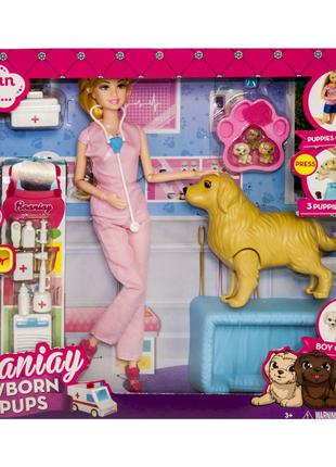 "Кукла ветеринар ""Newborn Pups"", розовая (CS 699-15)"
