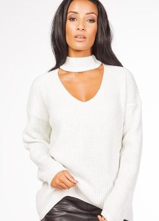 Вязанвой свитер туника с вырезом чокером серебряная нить оверс...