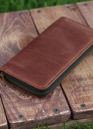 Компактное портмоне/кошелёк на молнии ручной работы