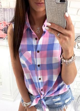 Рубашка безрукавка летняя женская в клетку (розово-голубая)