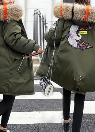 Куртка зимняя женская пуховик с аппликацией (цвет хаки)