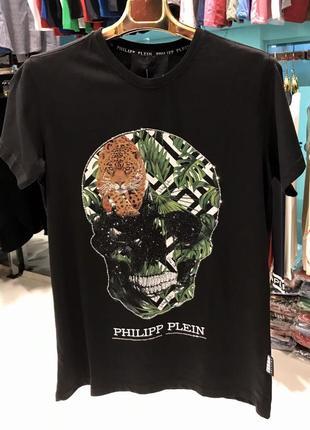 Футболка мужская philipp plein череп тропик черная