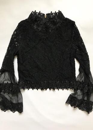 Блузка ажурная женская укороченная на замке черная