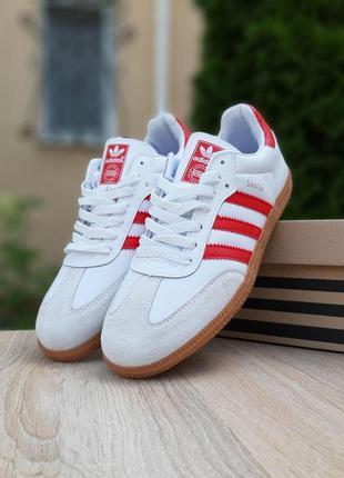 Adidas samba white/red мужские кроссовки адидас белые с красны...