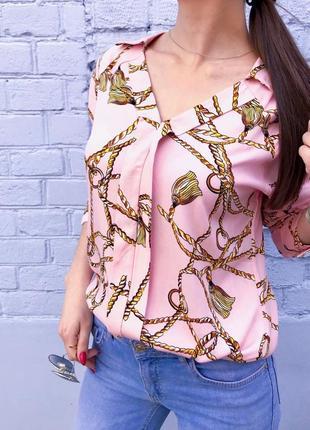 Блузка женская рисунок цепи (розовая)