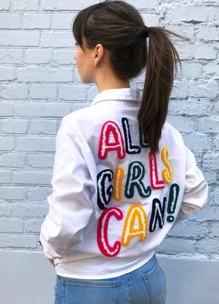 Женскаяя рубашка удлиненная с аппликацией на спине