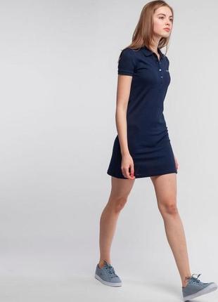 Женское платье поло lacoste темно синее
