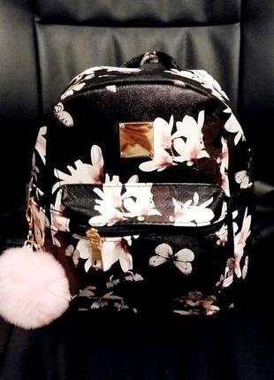 Рюкзак женский  mini в цветы (черный)