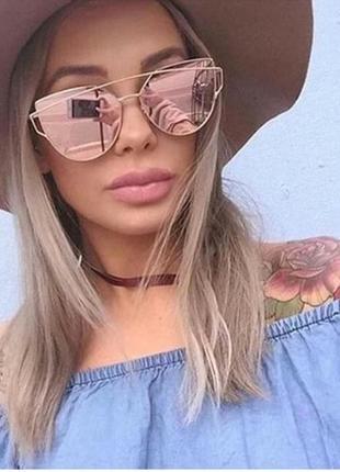 Солнцезащитные очки зеркальные (розовое золото)