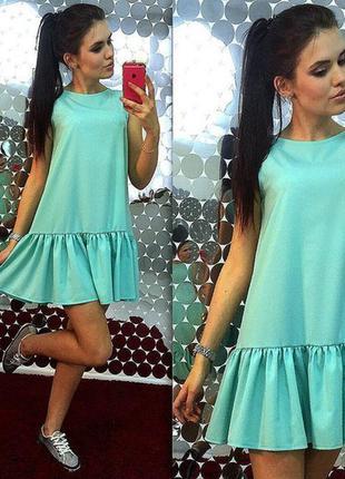 Платье с воланом мятное
