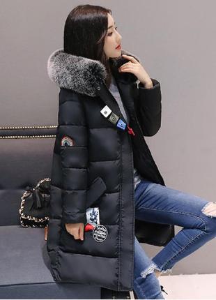 Куртка зимняя женская пуховик с лампасами
