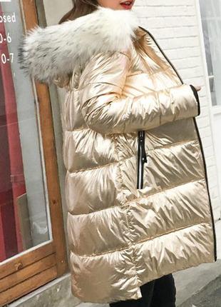 Куртка зимняя пуховик женская золото с белым мехом