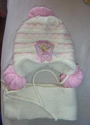 Очень красивый зимний комплект  шапочка и шарфик для девочек