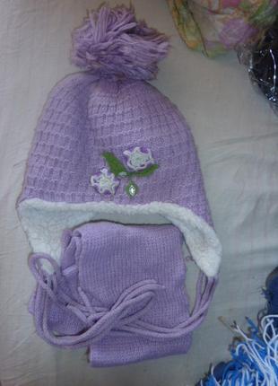 Зимний комплект  шапочка и шарфик для девочек