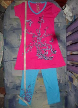 Летний костюм туника с лосинами очень красивые два вида