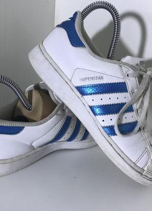 Детские кожаные кроссовки adidas super star ( адидас 34рр 21см )