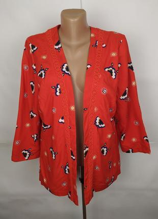 Блуза накидка красная красивая натуральная новая tu uk 14/42/l